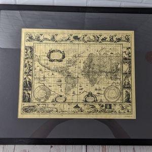 FRAMED MAP of world in 1635 Nova Totius Terrarum